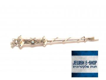 JAD - stříbrné ukazovátko na Tóru se lvem - 17,5 cm dlouhé