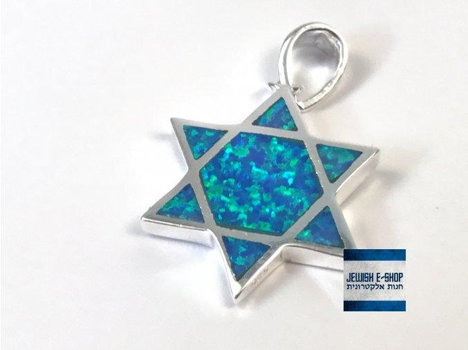 Stříbrný lesklý přívěsek Davidova hvězda z Izraele, Ag925/1000, Made in Israel