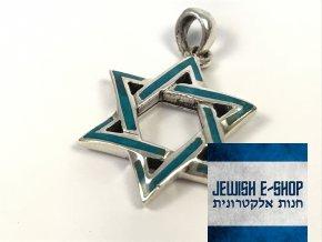 Velký stříbrný přívěsek s Davidovou hvězdou z Izraele, Ag925/1000, Made in Israel