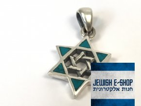 Stříbrný přívěsek 2x Davidova hvězda z Izraele, Ag925/1000, Made in Israel