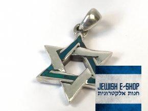 Stříbrný přívěsek Davidova hvězda zapletená, z Izraele, Ag925/1000, Made in Israel