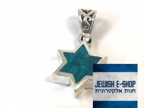 Stříbrný přívěsek Davidova hvězda modrá, z Izraele, Ag925/1000, Made in Israel