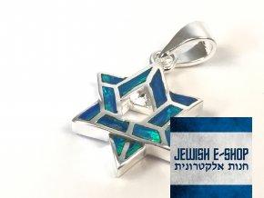 Stříbrný přívěsek lesklá Davidova hvězda, z Izraele, Ag925/1000, Made in Israel