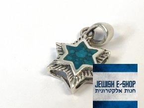 Stříbrný přívěsek matná Davidova hvězda, z Izraele, Ag925/1000, Made in Israel