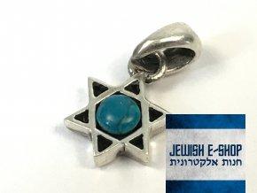 Malý stříbrný přívěsek Davidova hvězda, z Izraele, Ag925/1000, Made in Israel