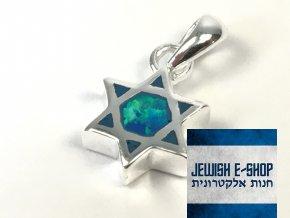 Malý stříbrný přívěsek lesklá Davidova hvězda, z Izraele, Ag925/1000, Made in Israel