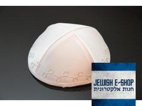 Kippa - Jarmulka bílá se stříbrným vyšitým zdobením