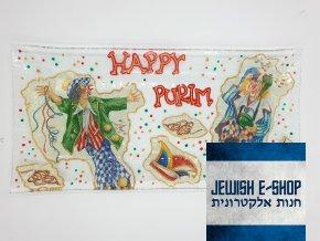 Podnos na Hamanovy uši s nápisem Happy Purim