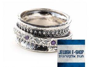 Stříbrný prsten s pohyblivým kroužkem zdobený fialovými zirkony - made in Israel