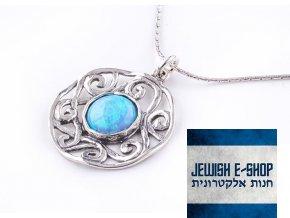 Opálový orientální přívěšek na jemném stříbrném řetízku made in Israel