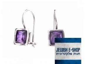 Stříbrné náušnice s ametystem made in Israel