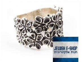 Izraelský stříbrný prsten s kytičkami