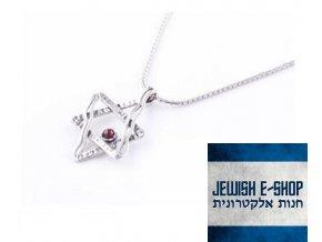 Stříbrná Davidova hvězda s granátem na jemném řetízku  made in Israel
