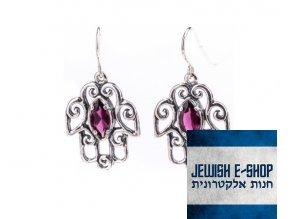 Náušnice chamsa s červeným zirkonem  made in Israel