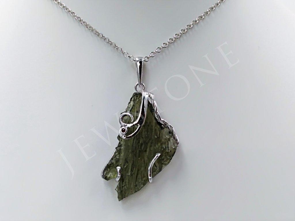 Vltavínový přívěsek stříbrný 5,1 g, Ag 925/1000+Rh