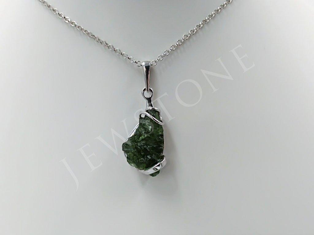 Vltavínový přívěsek stříbrný 3,7 g, Ag 925/1000+Rh