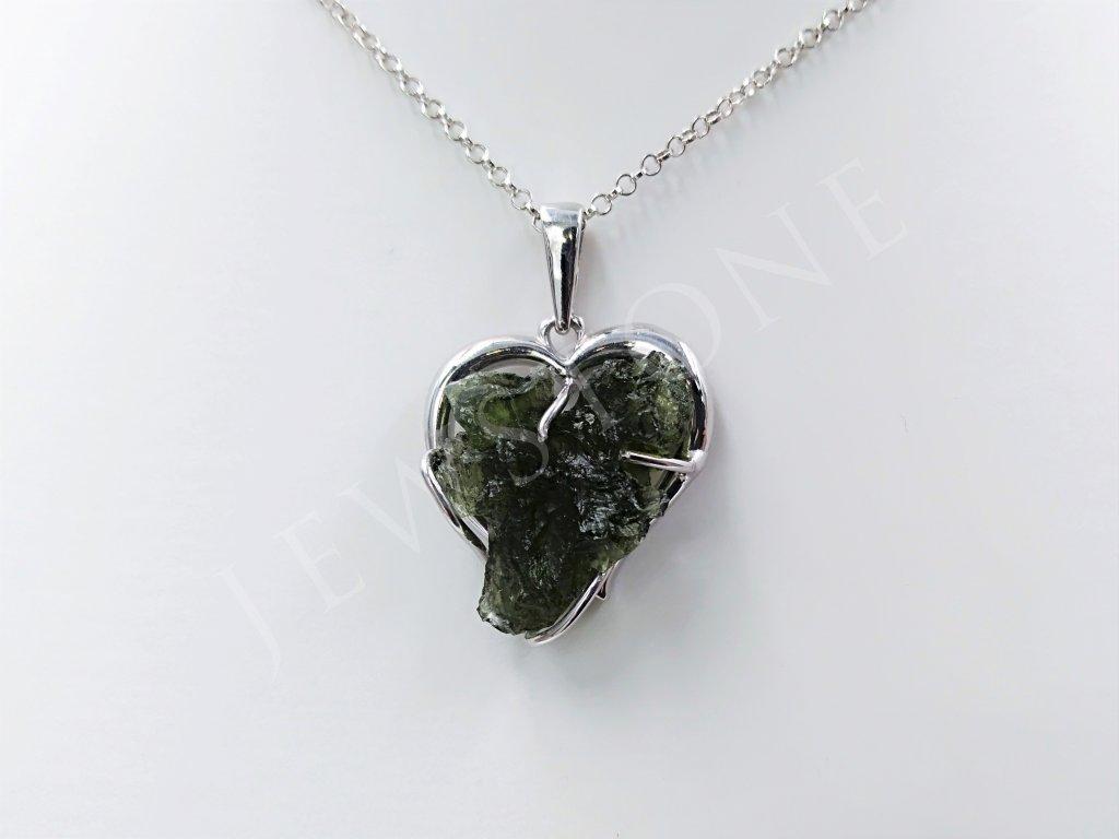 Vltavínový přívěsek stříbrný 6,8 g, Ag 925/1000+Rh