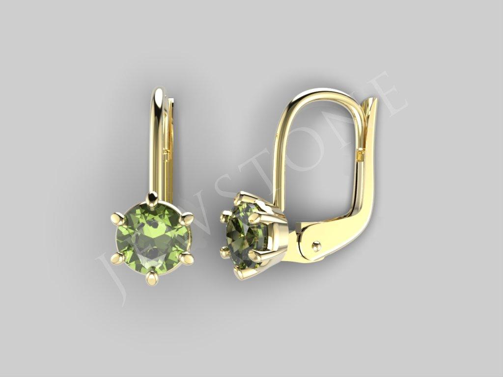 Zlaté náušnice - vltavín 1,68 g, Au 585/1000