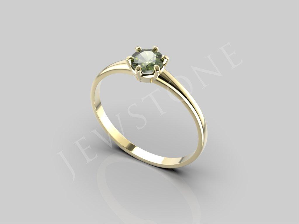 Zlatý prsten - vltavín, Au 585/1000+Rh