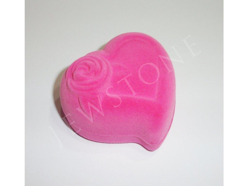 Semišová dárková krabička - srdíčko růžové