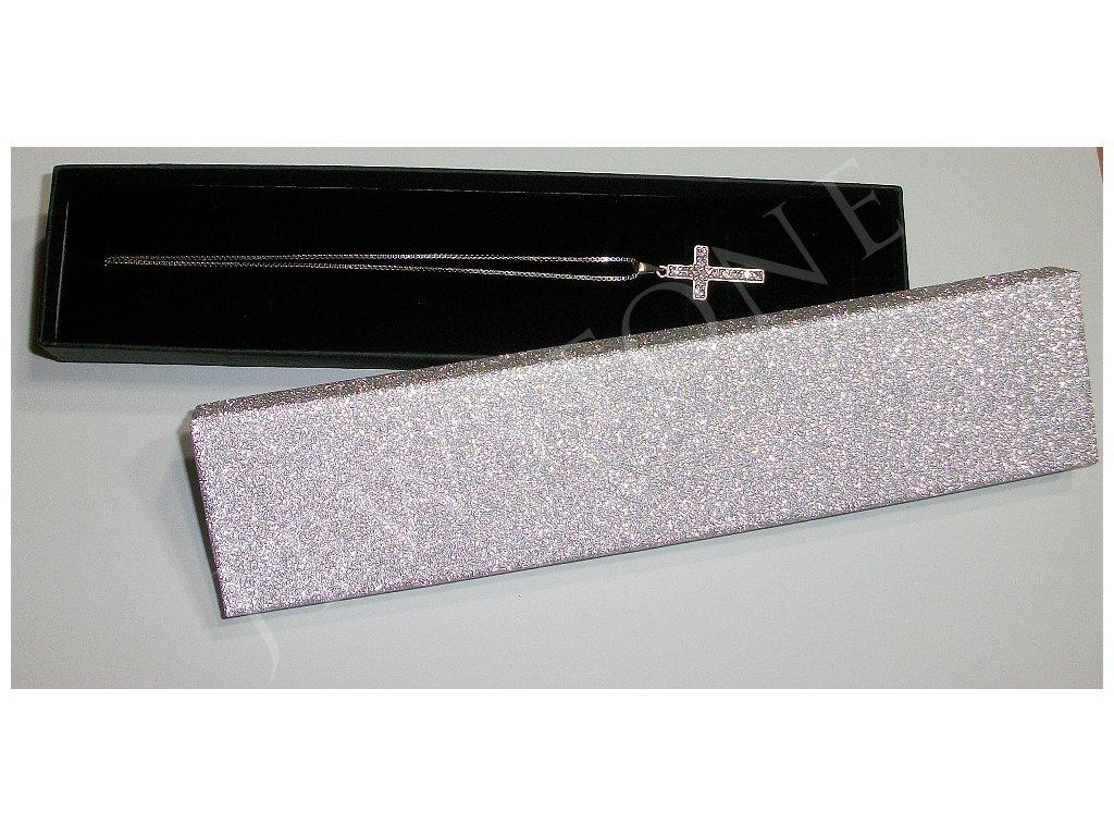 Stříbrná dárková krabička podlouhlá