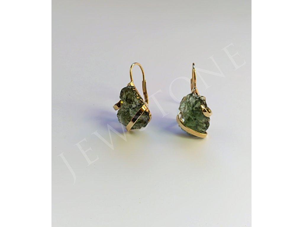 Zlaté náušnice - přírodní vltavín 3,72 g, Au 585/1000