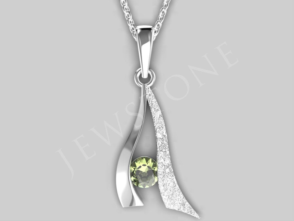 Stříbrný přívěsek - vltavín 3,4 g, Ag 925/1000+Rh