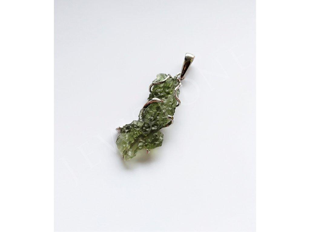 Stříbrný přívěsek - přírodní vltavín 4,8 g, Ag 925/1000+Rh