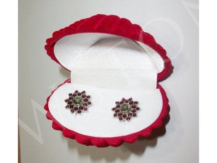 Semišová dárková krabička - lastura červená