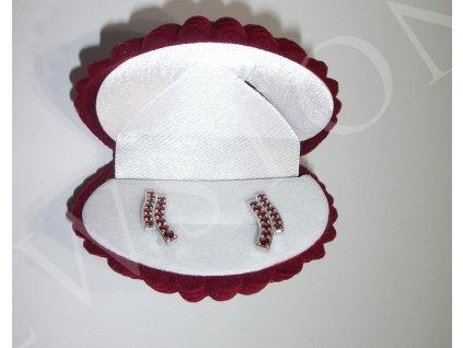 Semišová dárková krabička - lastura bordó