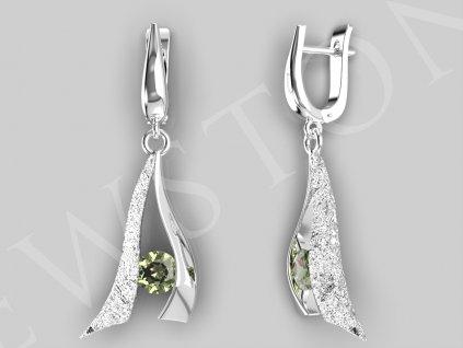 Stříbrné náušnice - vltavín 8,5 g, Ag 925/1000+Rh