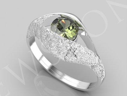 Stříbrný prsten - vltavín 3,4 g, Ag 925/1000+Rh