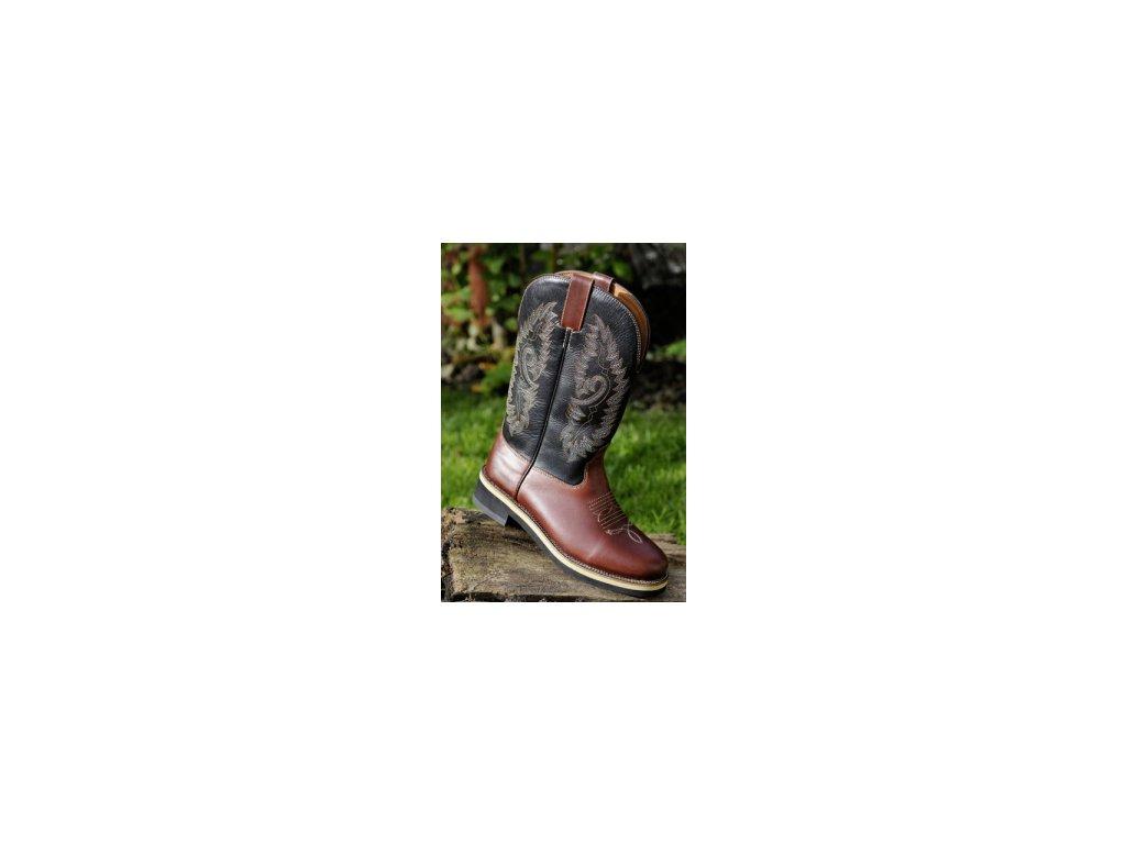 Westernové boty hnědé kožené 42