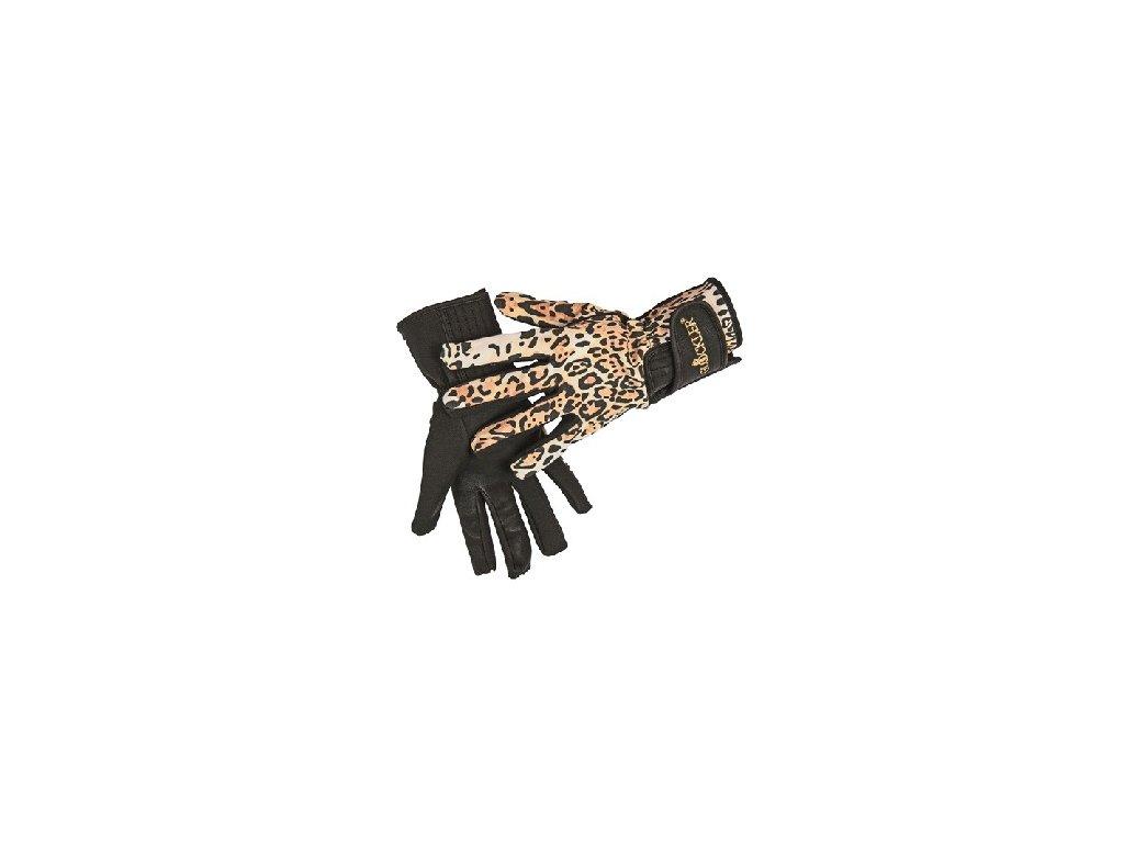 Jezdecké rukavice HKM Animal, tygrované,