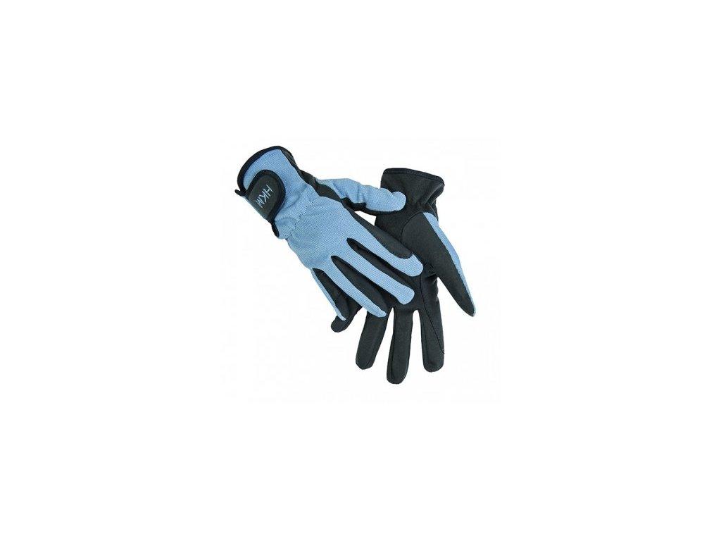 Jezdecké rukavice HKM Special XS, světle modré