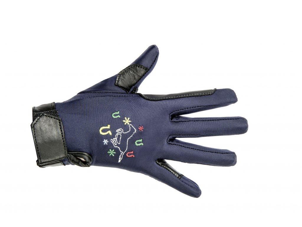 Jezdecké rukavice dětské HKM, 12 let, modré