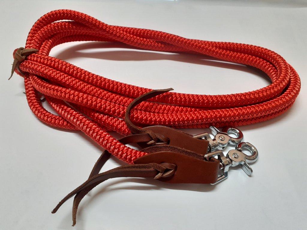 Westernové otěže Bora provazové spojené - červené