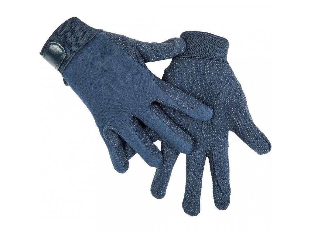 Jezdecké rukavice z bavlny HKM modré