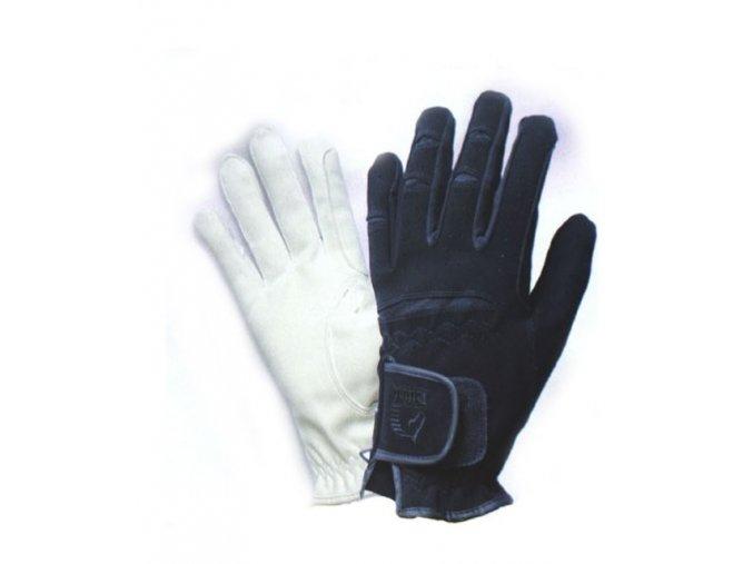Jezdecké rukavice techno-semiš Tattini, bílé, černé