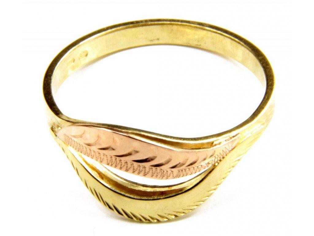 Prsten ze žlutého a červeného zlata G391
