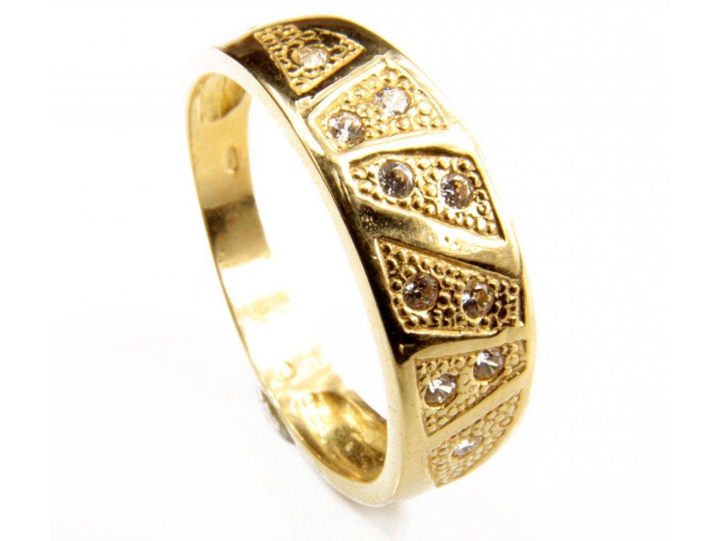 Prsten ze žlutého zlata G413
