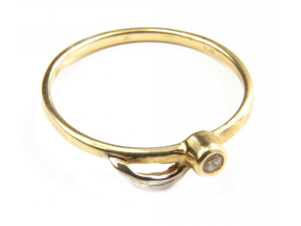 Prsten ze žlutého a bílého zlata G396