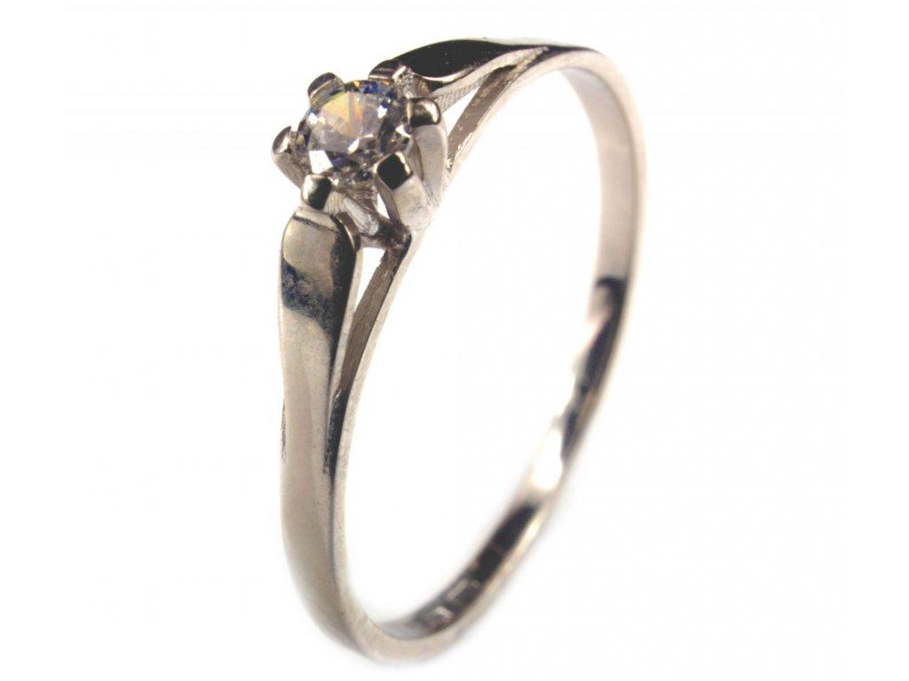 Prsten z bílého zlata se zirkony G200