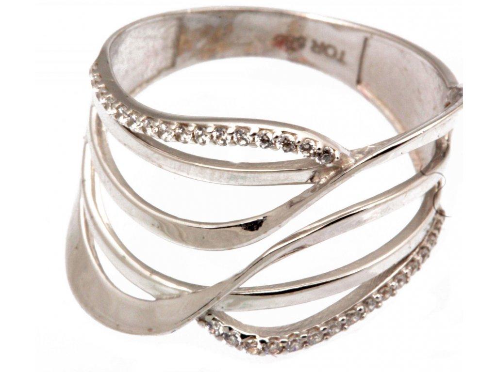 Prsten z bílého zlata se zirkony G269