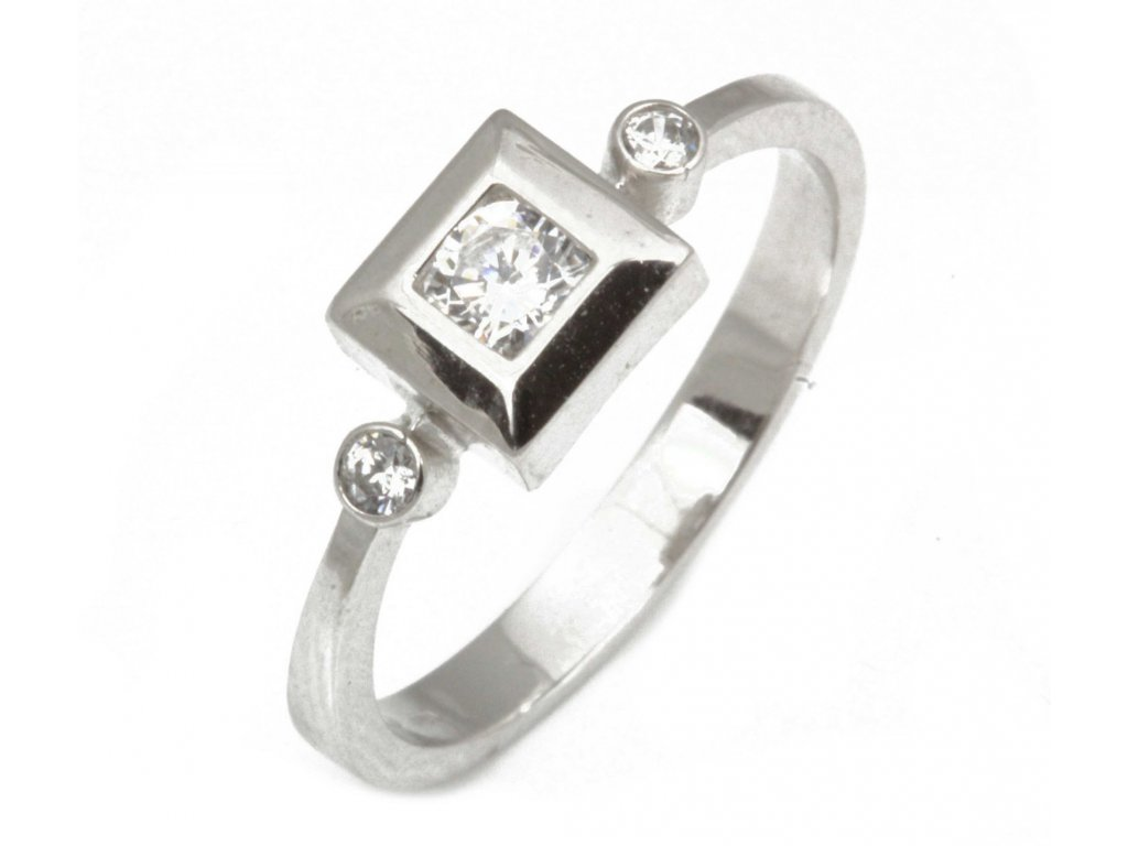Prsten z bílého zlata se zirkony G314