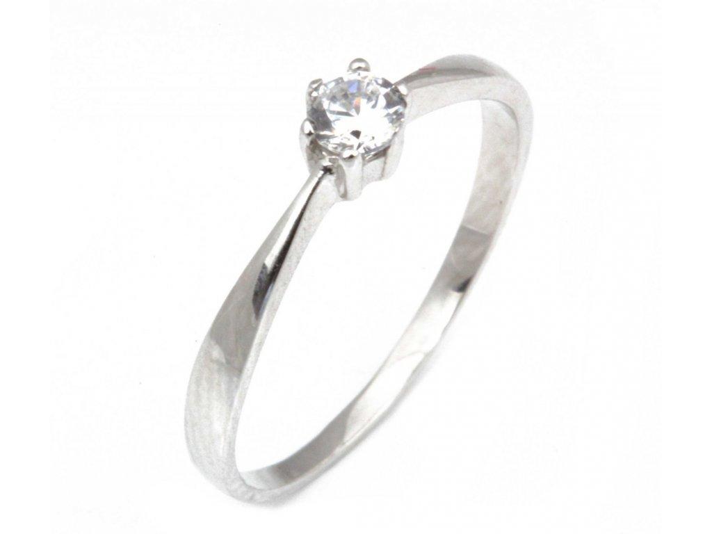 Prsten z bílého zlata se zirkony G315