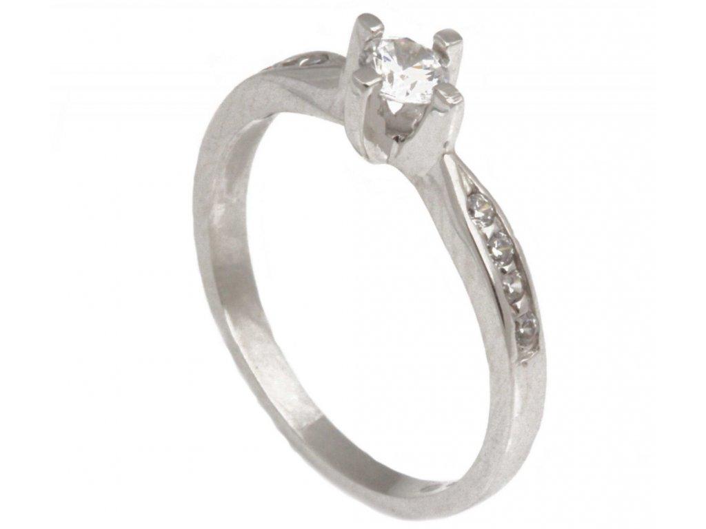 Prsten z bílého zlata se zirkony G317