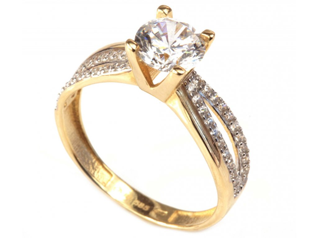 Prsten ze žlutého zlata G281