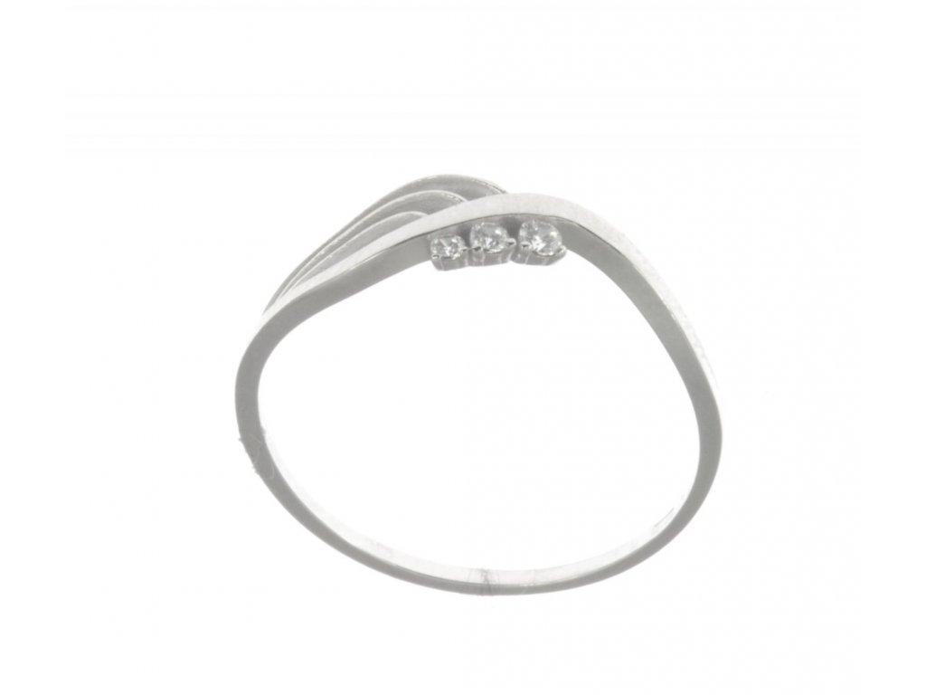 Prsten z bílého zlata se zirkony G527