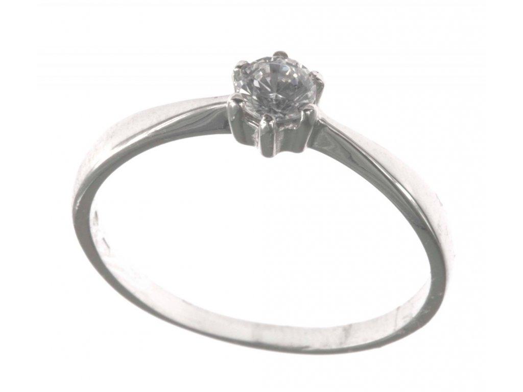 Prsten z bílého zlata se zirkony G467